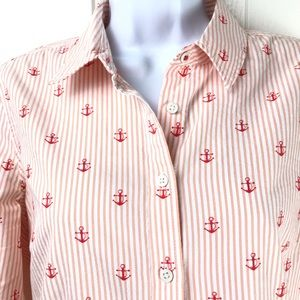 Tommy Hilfiger Nautical Anchor Button Front Top M